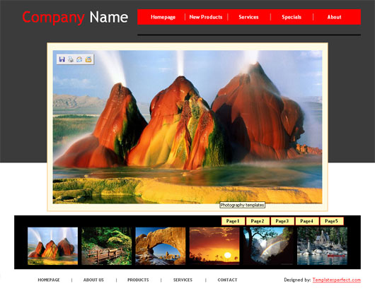 Free Photography web template