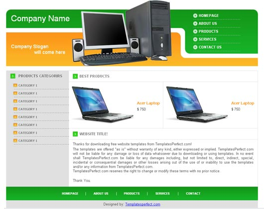 free computer accessories web template