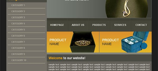 free jewelery shop html web template