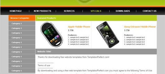 free mobile store web templates