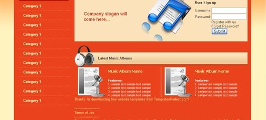 free music store html web template
