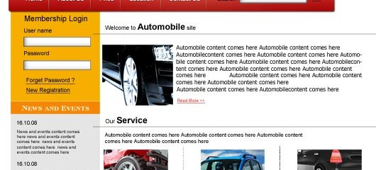 Free automobile psd web template