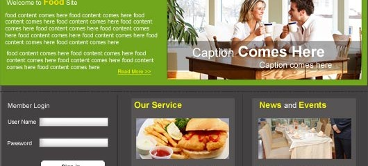 Free restaurant food PSD web template