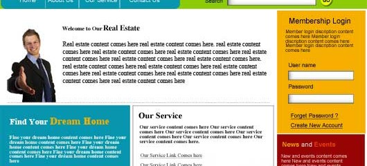 free realestate PSD web template