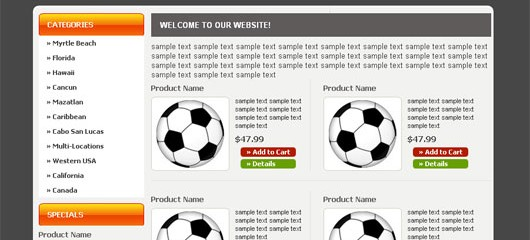 Free sports web template