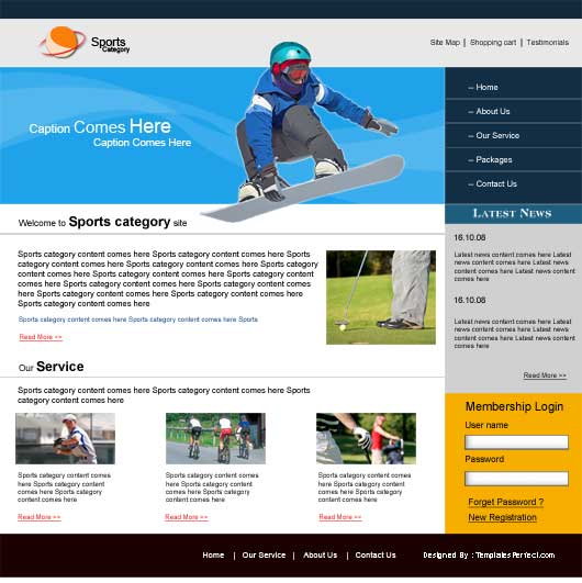 free sports club PSD web template