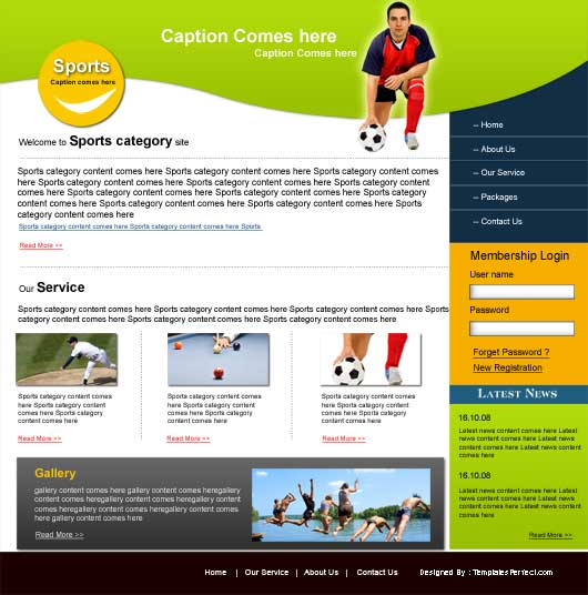 Free sports club PSD website template