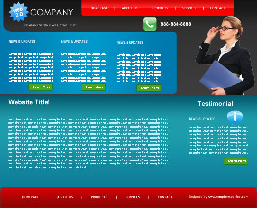 free web 2 marketing PSD web template