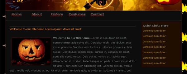 Free Halloween website template
