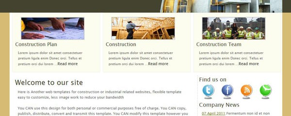 Free construction company web site template