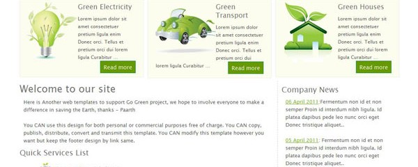 Free Go Green Perfect CSS website Template