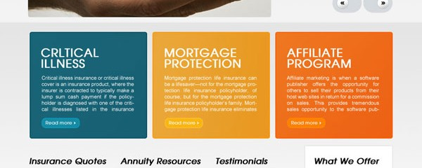 Free home insurance business web template