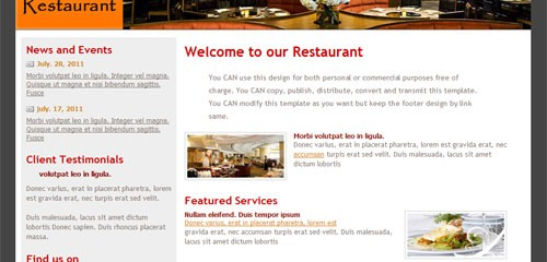 Free Restaurant CSS website template