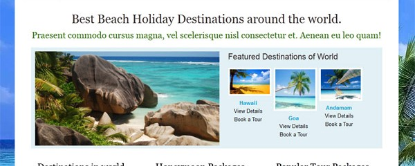 Beach Holidays : Free CSS website template