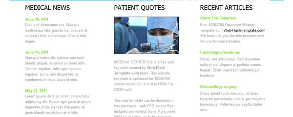Free medical center HTML5 template
