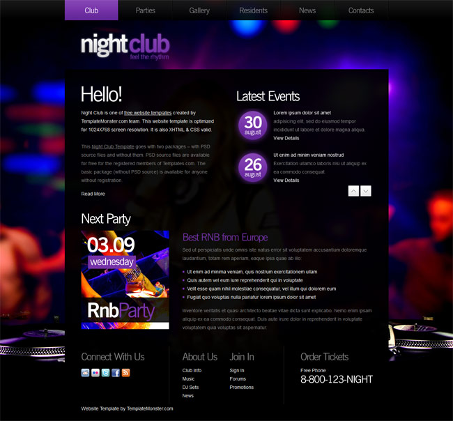 Free website template for Night Club
